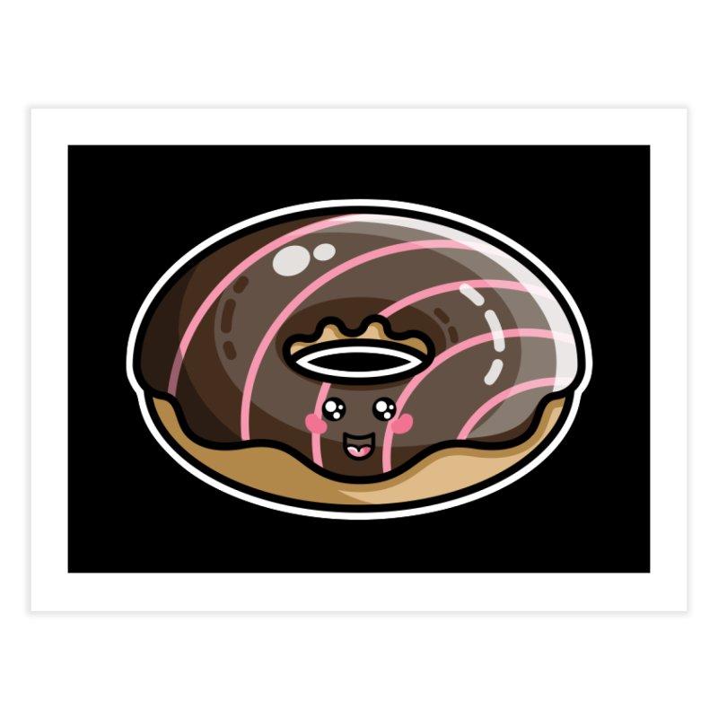 Kawaii Cute Chocolate Donut Home Fine Art Print by Flaming Imp's Artist Shop