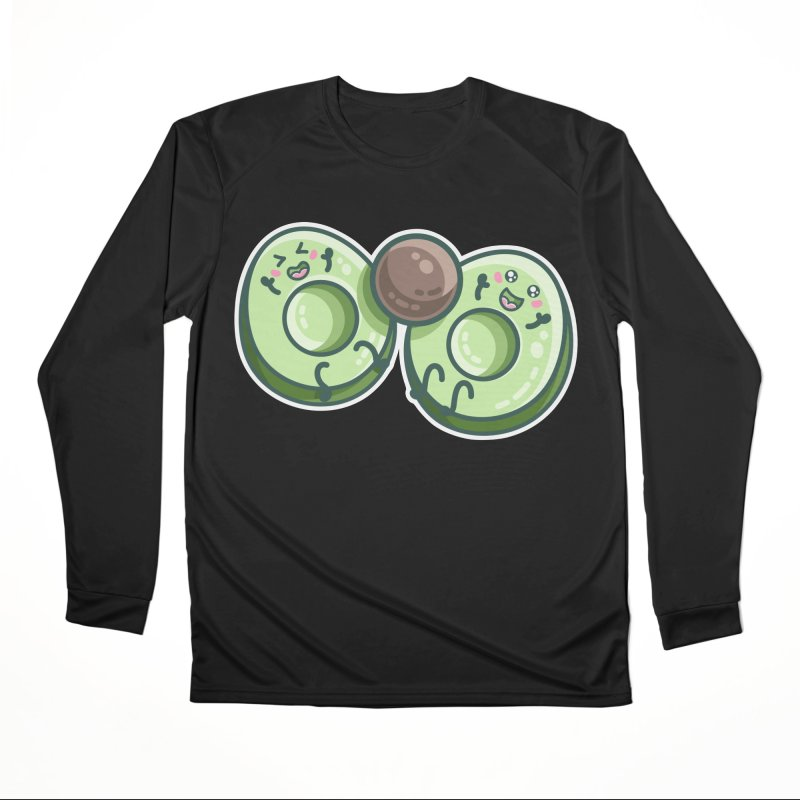 Kawaii Cute Avocados Playing Men's Performance Longsleeve T-Shirt by Flaming Imp's Artist Shop