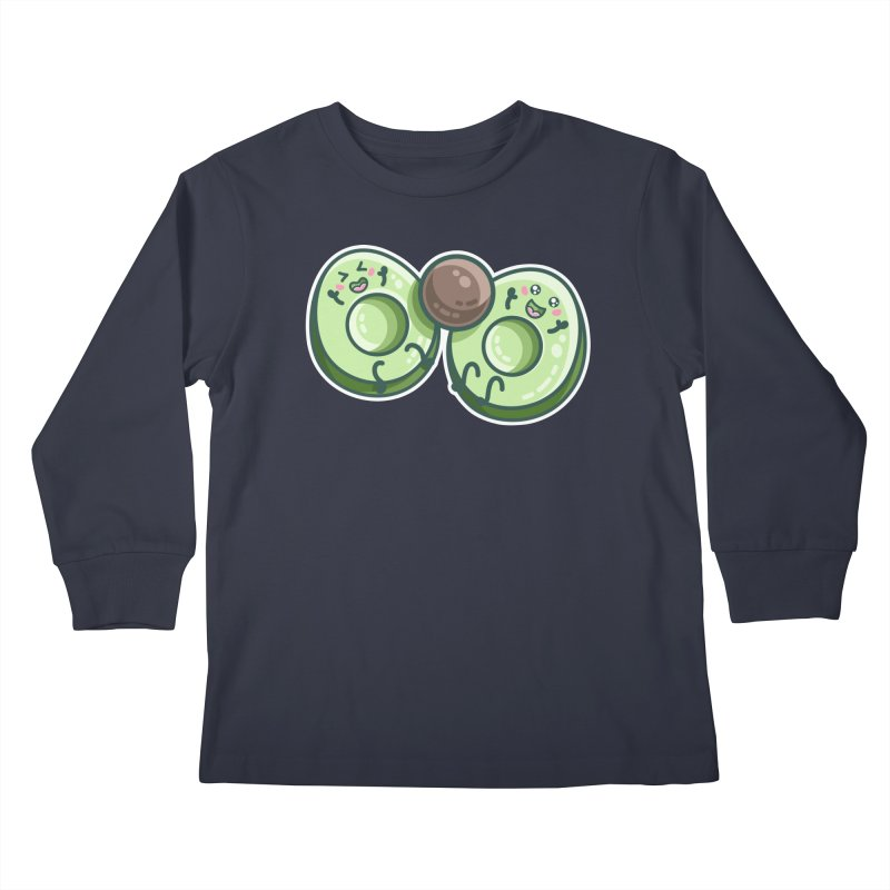 Kawaii Cute Avocados Playing Kids Longsleeve T-Shirt by Flaming Imp's Artist Shop