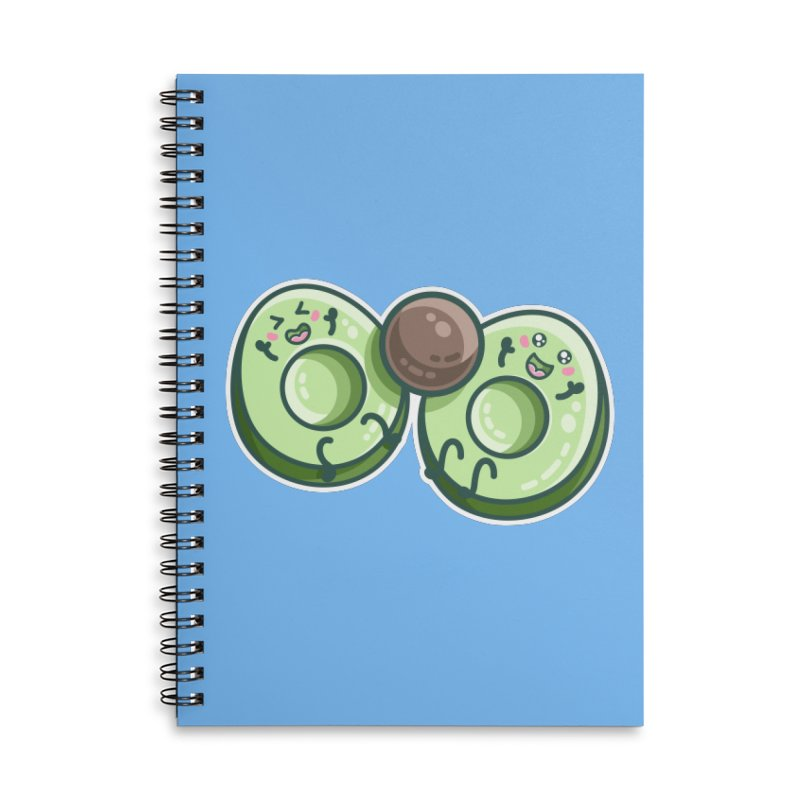 Kawaii Cute Avocados Playing Accessories Lined Spiral Notebook by Flaming Imp's Artist Shop
