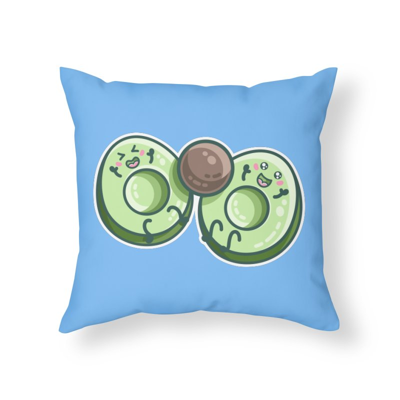 Kawaii Cute Avocados Playing Home Throw Pillow by Flaming Imp's Artist Shop