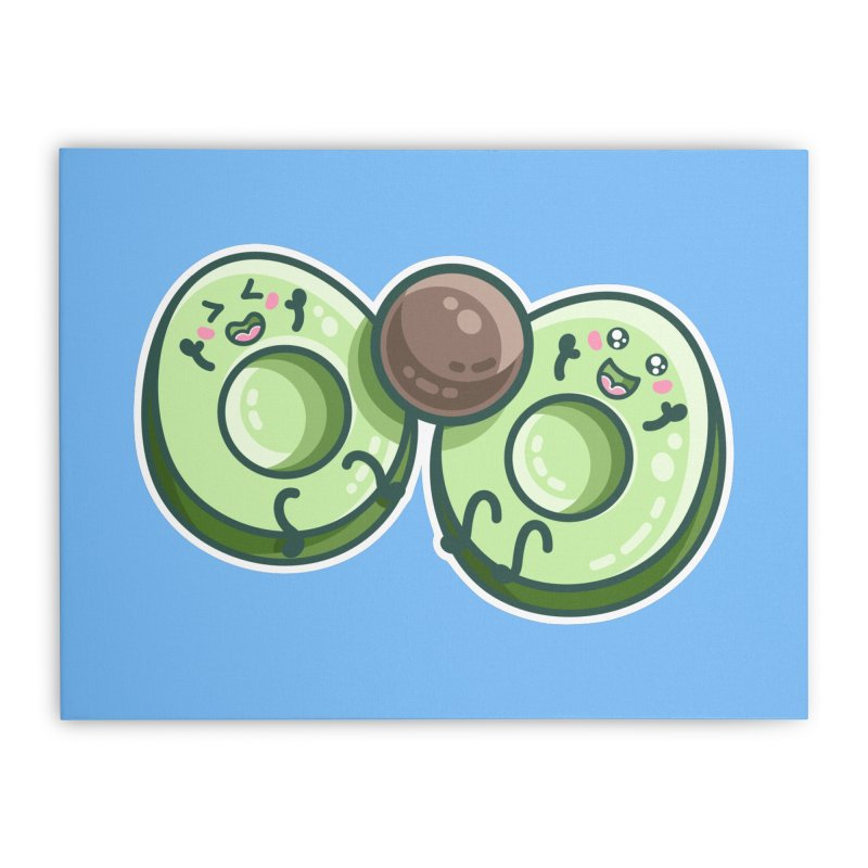 Kawaii Cute Avocados Playing Home Stretched Canvas by Flaming Imp's Artist Shop