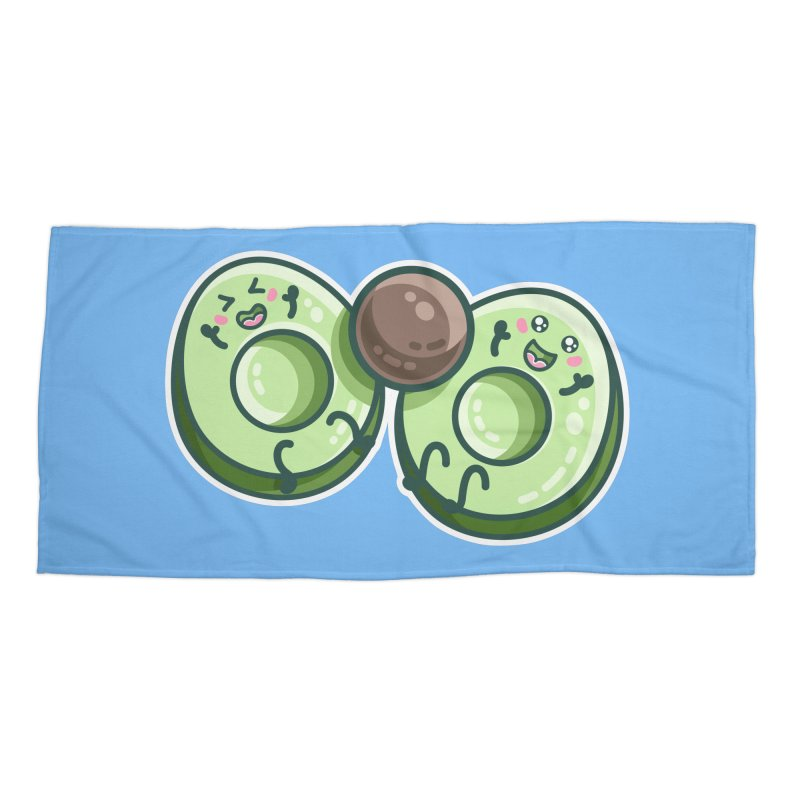Kawaii Cute Avocados Playing Accessories Beach Towel by Flaming Imp's Artist Shop