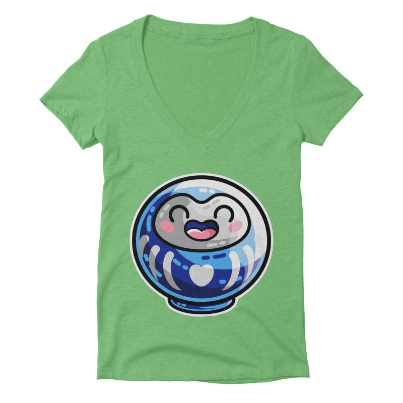 Kawaii Cute Japanese Daruma Doll Women's Deep V-Neck V-Neck by Flaming Imp's Artist Shop