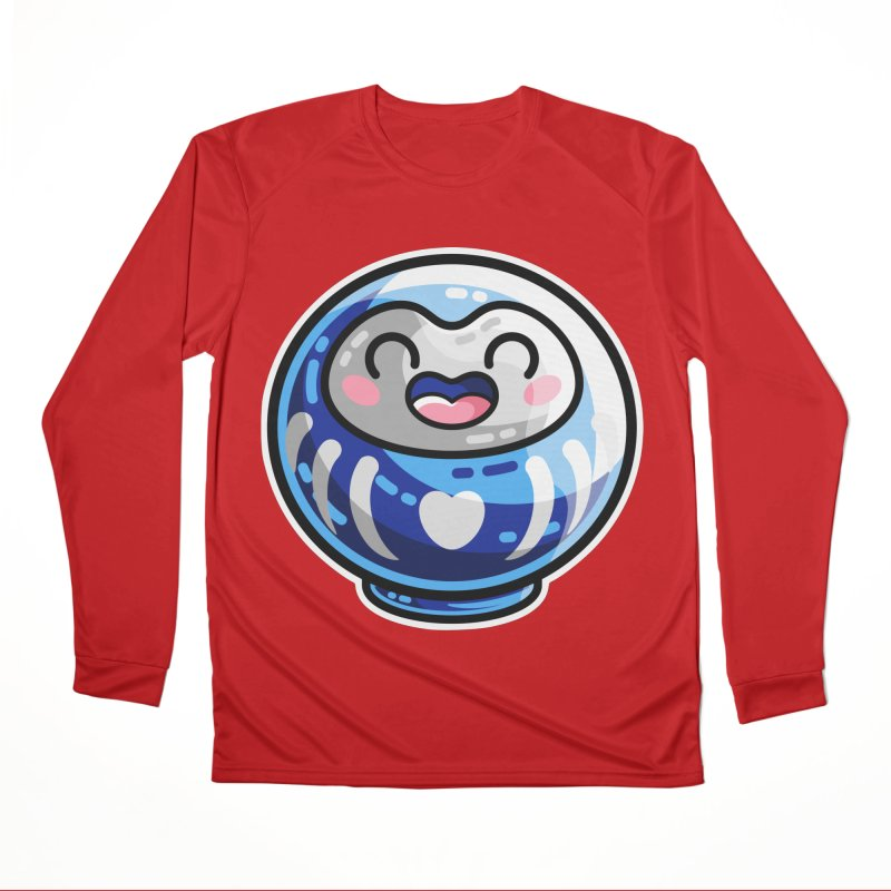 Kawaii Cute Japanese Daruma Doll Women's Performance Unisex Longsleeve T-Shirt by Flaming Imp's Artist Shop