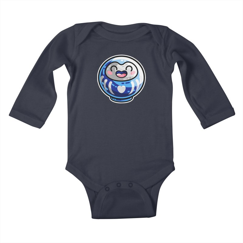 Kawaii Cute Japanese Daruma Doll Kids Baby Longsleeve Bodysuit by Flaming Imp's Artist Shop