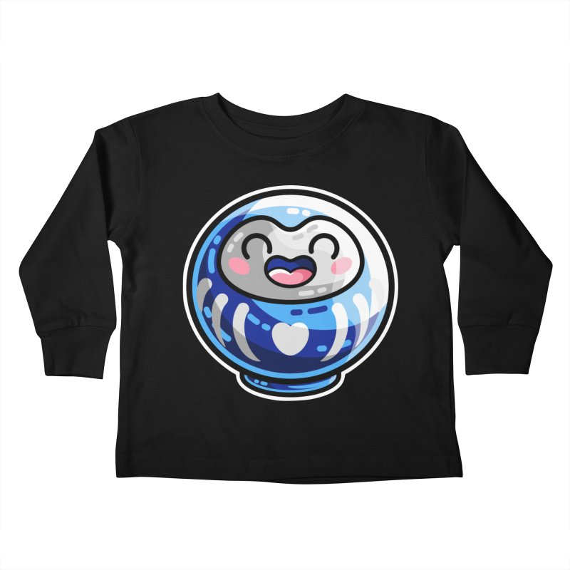 Kawaii Cute Japanese Daruma Doll Kids Toddler Longsleeve T-Shirt by Flaming Imp's Artist Shop