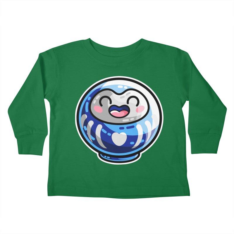 Kawaii Cute Japanese Daruma Doll Kids Toddler Longsleeve T-Shirt by Flaming Imp's Artist Shop