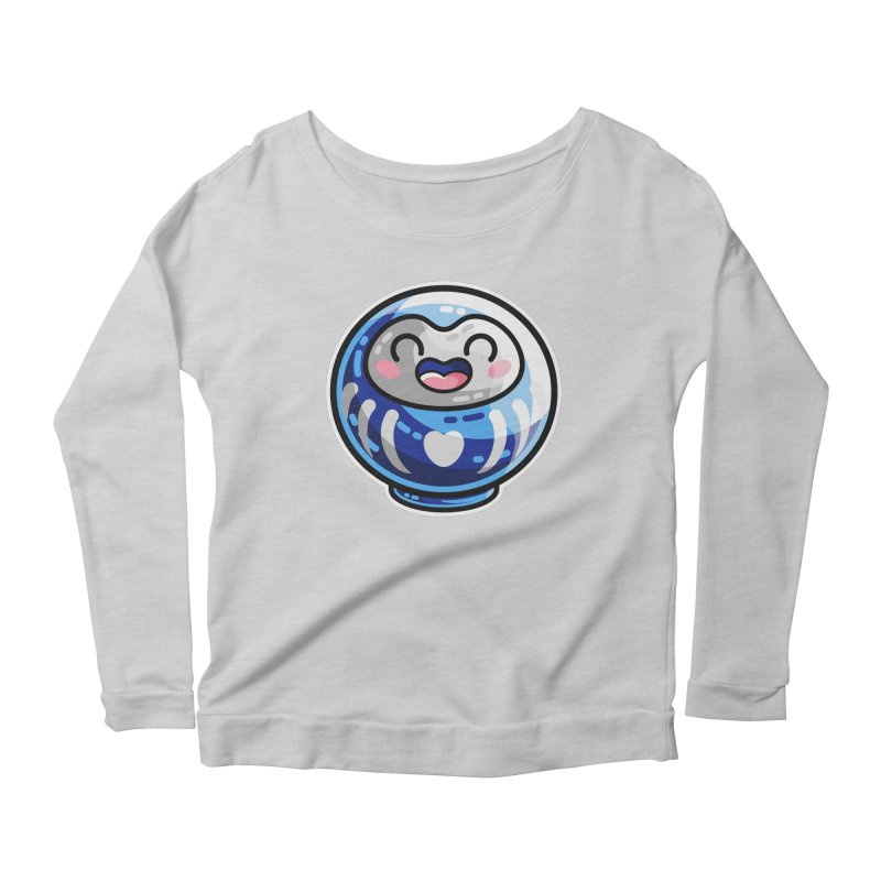 Kawaii Cute Japanese Daruma Doll Women's Scoop Neck Longsleeve T-Shirt by Flaming Imp's Artist Shop