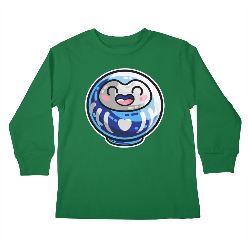 Kawaii Cute Japanese Daruma Doll Kids Longsleeve T-Shirt by Flaming Imp's Artist Shop