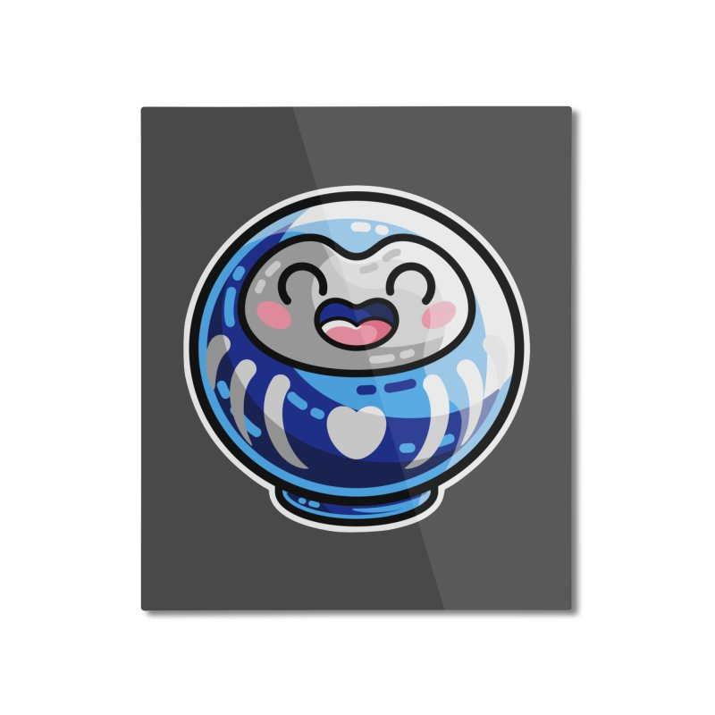 Kawaii Cute Japanese Daruma Doll Home Mounted Aluminum Print by Flaming Imp's Artist Shop