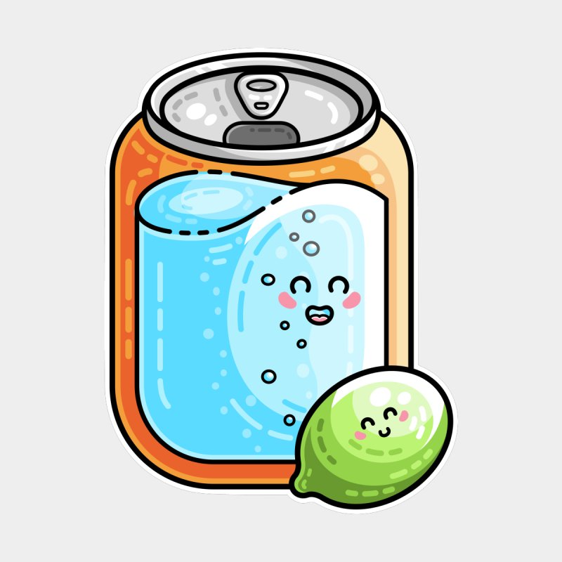 Kawaii Cute Lime and Soda Can by Flaming Imp's Artist Shop