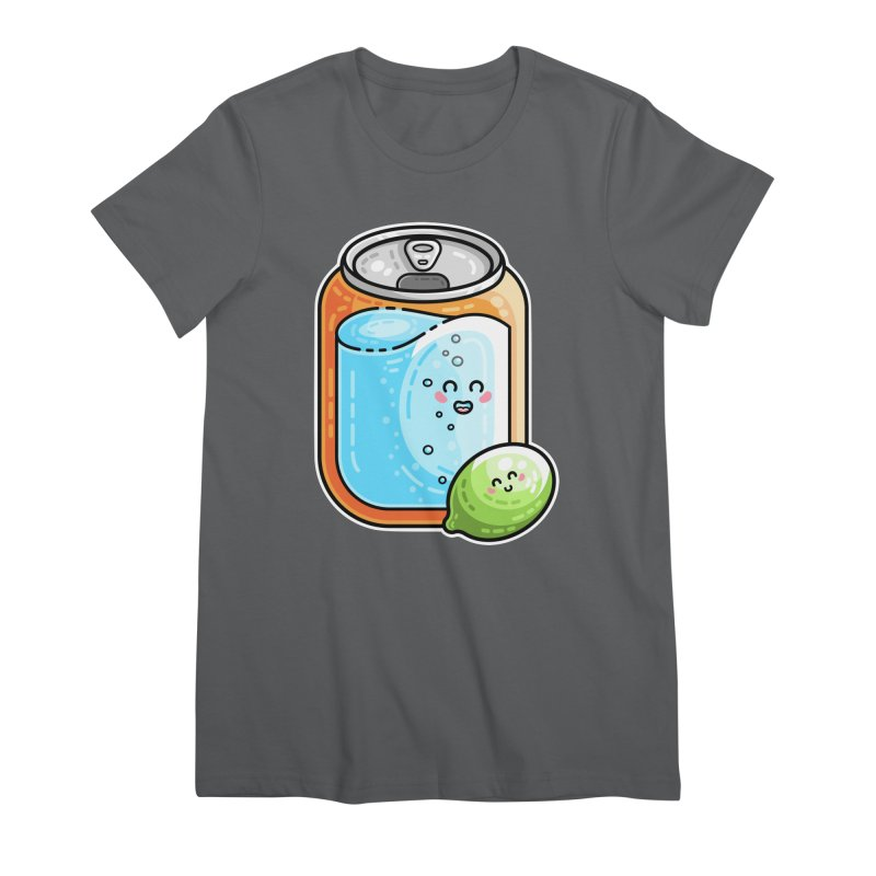 Kawaii Cute Lime and Soda Can Women's Premium T-Shirt by Flaming Imp's Artist Shop