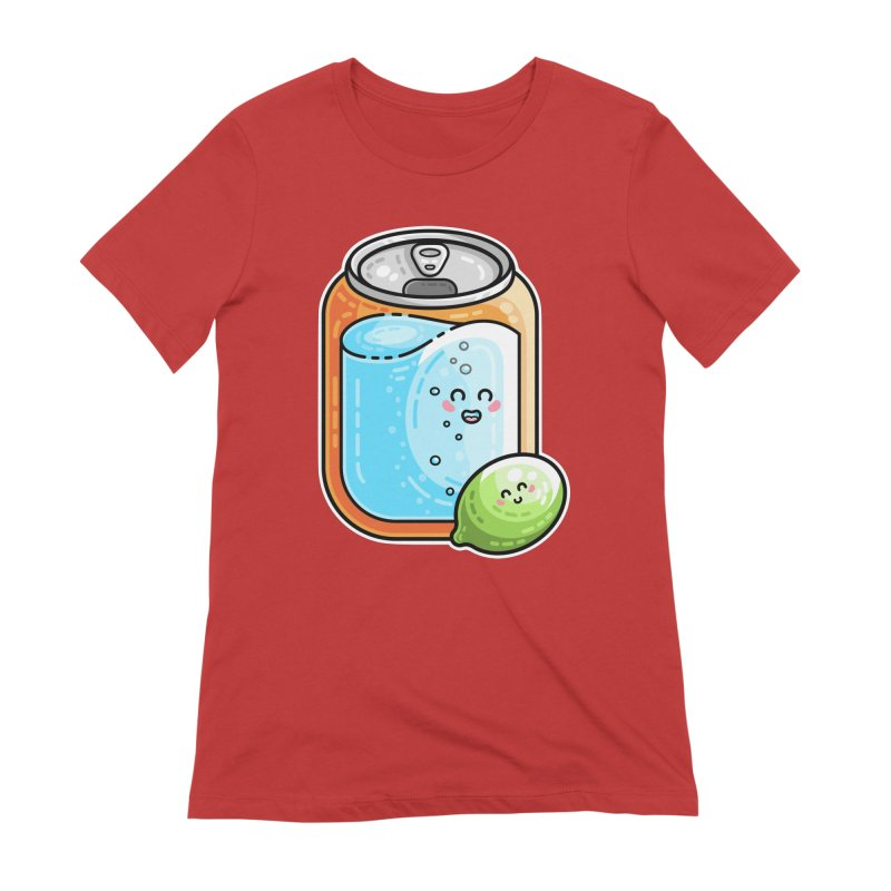 Kawaii Cute Lime and Soda Can Women's Extra Soft T-Shirt by Flaming Imp's Artist Shop