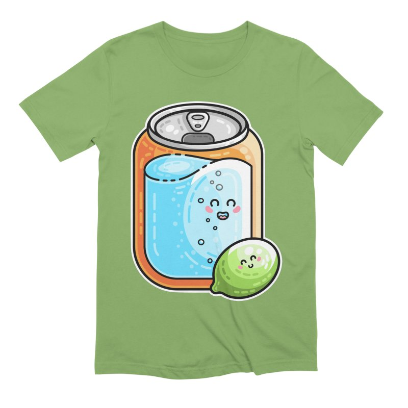 Kawaii Cute Lime and Soda Can Men's Extra Soft T-Shirt by Flaming Imp's Artist Shop