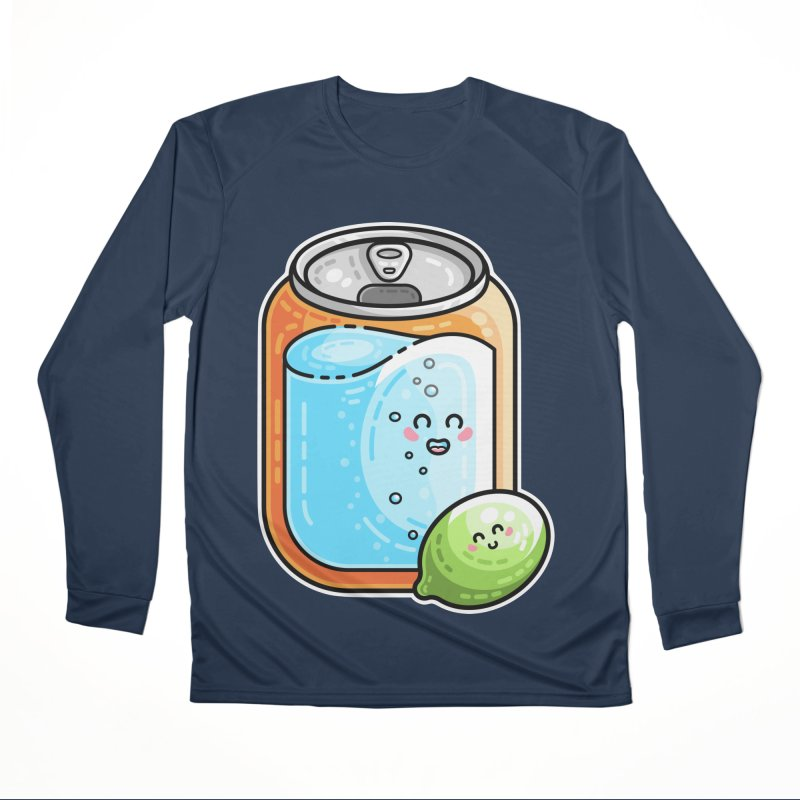 Kawaii Cute Lime and Soda Can Men's Performance Longsleeve T-Shirt by Flaming Imp's Artist Shop