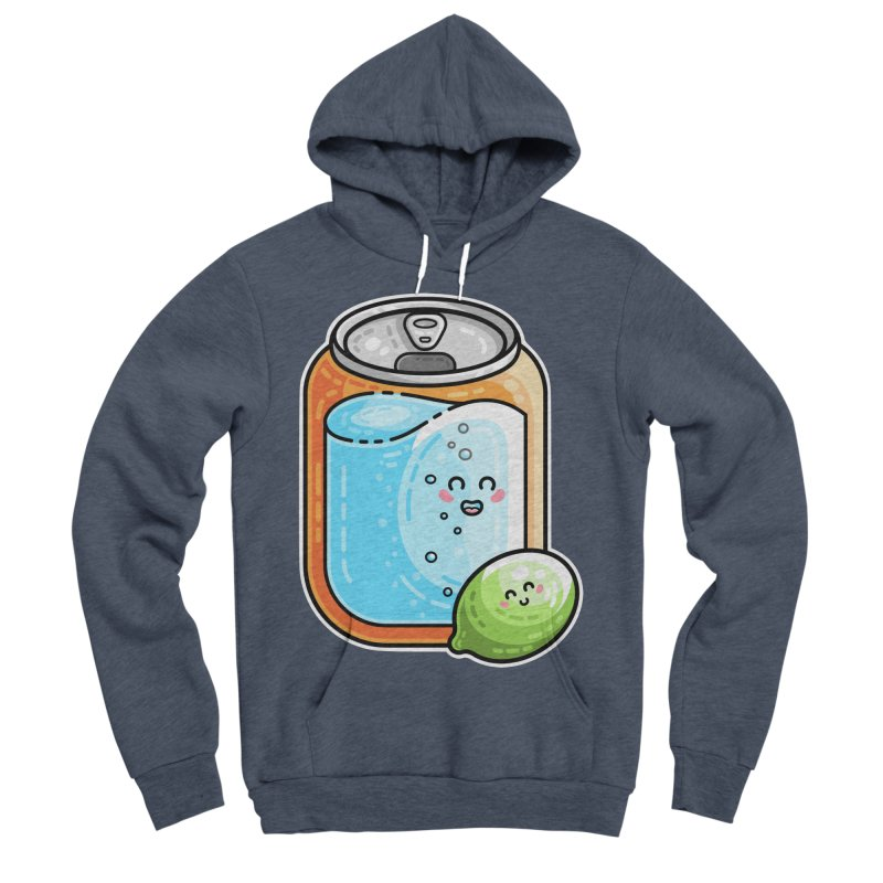 Kawaii Cute Lime and Soda Can Men's Sponge Fleece Pullover Hoody by Flaming Imp's Artist Shop