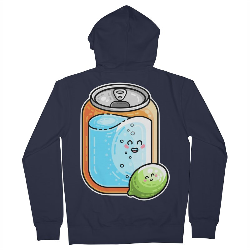 Kawaii Cute Lime and Soda Can Men's French Terry Zip-Up Hoody by Flaming Imp's Artist Shop