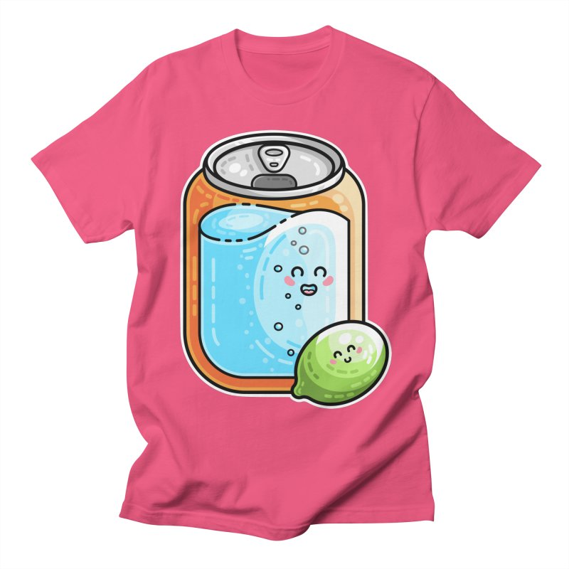 Kawaii Cute Lime and Soda Can Men's Regular T-Shirt by Flaming Imp's Artist Shop