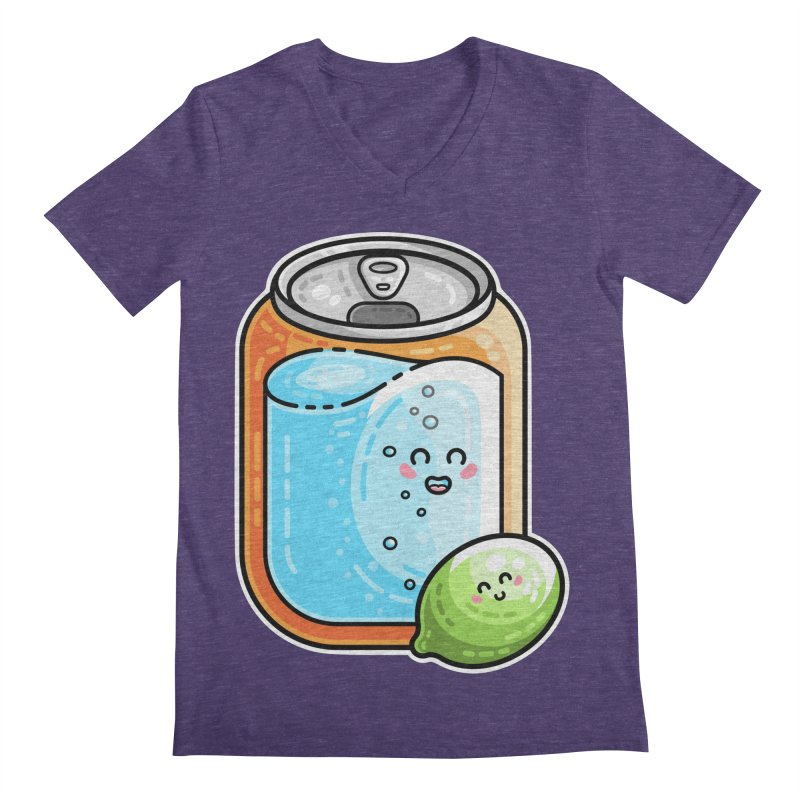 Kawaii Cute Lime and Soda Can Men's Regular V-Neck by Flaming Imp's Artist Shop