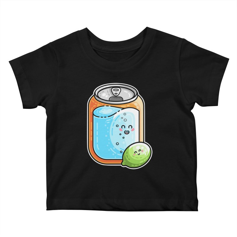 Kawaii Cute Lime and Soda Can Kids Baby T-Shirt by Flaming Imp's Artist Shop