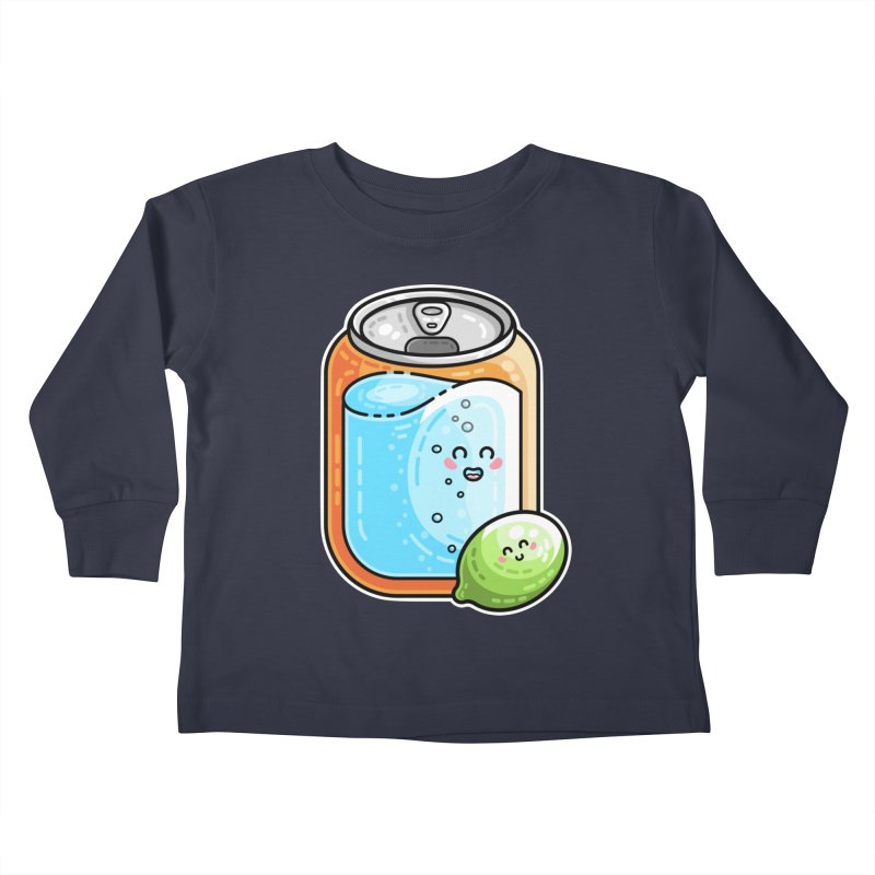 Kawaii Cute Lime and Soda Can Kids Toddler Longsleeve T-Shirt by Flaming Imp's Artist Shop