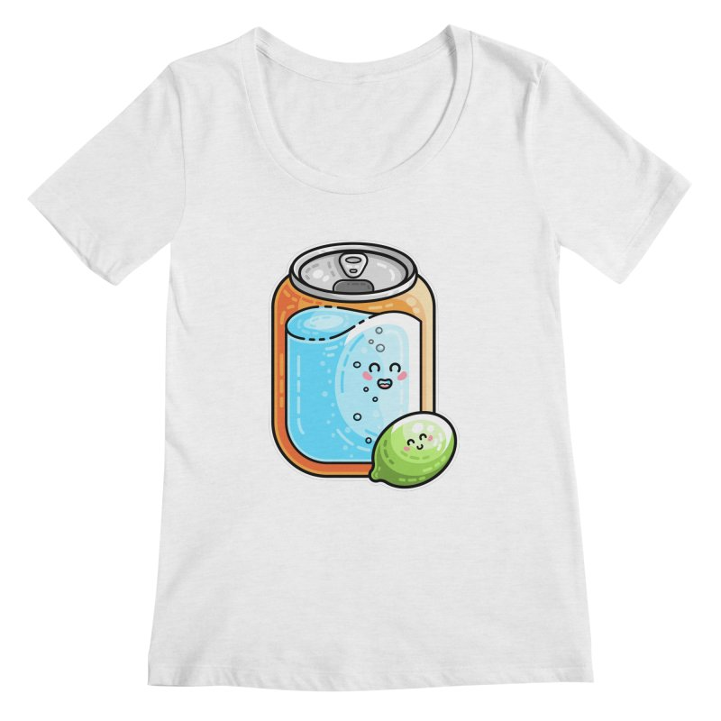 Kawaii Cute Lime and Soda Can Women's Scoop Neck by Flaming Imp's Artist Shop