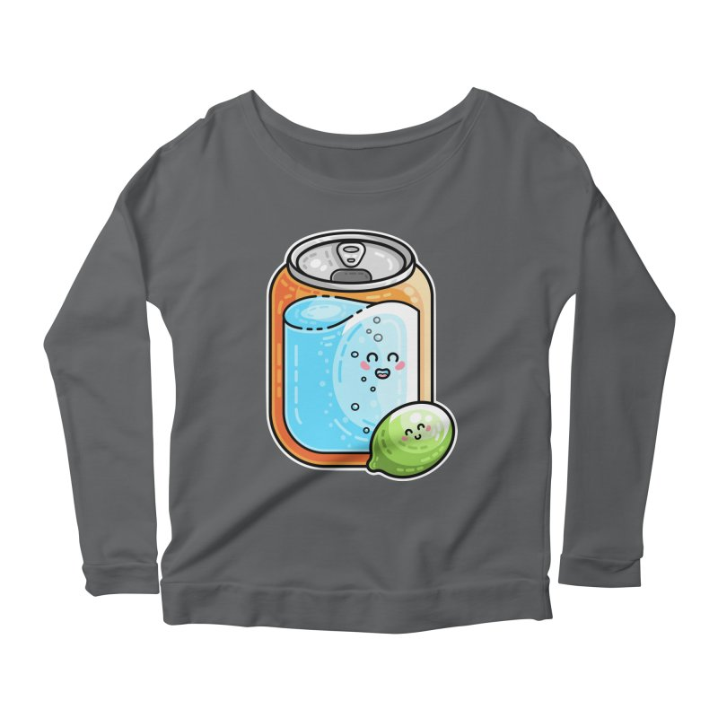 Kawaii Cute Lime and Soda Can Women's Scoop Neck Longsleeve T-Shirt by Flaming Imp's Artist Shop
