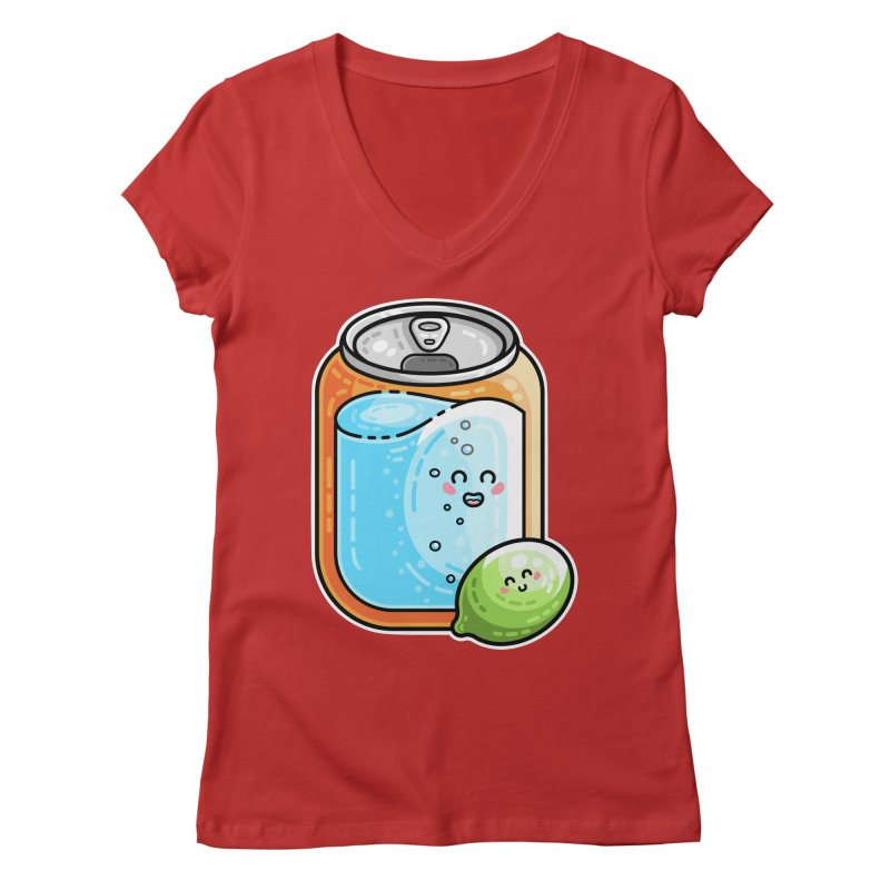 Kawaii Cute Lime and Soda Can Women's Regular V-Neck by Flaming Imp's Artist Shop