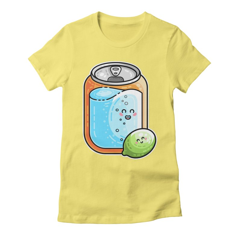 Kawaii Cute Lime and Soda Can Women's Fitted T-Shirt by Flaming Imp's Artist Shop