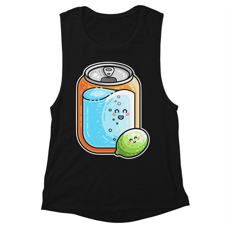 Kawaii Cute Lime and Soda Can Women's Muscle Tank by Flaming Imp's Artist Shop