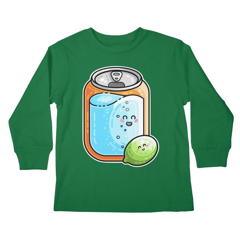 Kawaii Cute Lime and Soda Can Kids Longsleeve T-Shirt by Flaming Imp's Artist Shop
