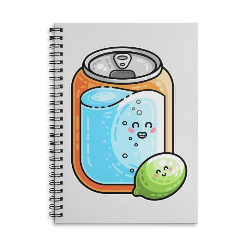Kawaii Cute Lime and Soda Can Accessories Lined Spiral Notebook by Flaming Imp's Artist Shop