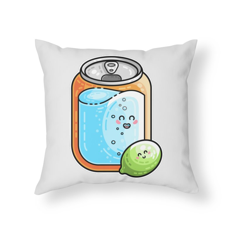 Kawaii Cute Lime and Soda Can Home Throw Pillow by Flaming Imp's Artist Shop