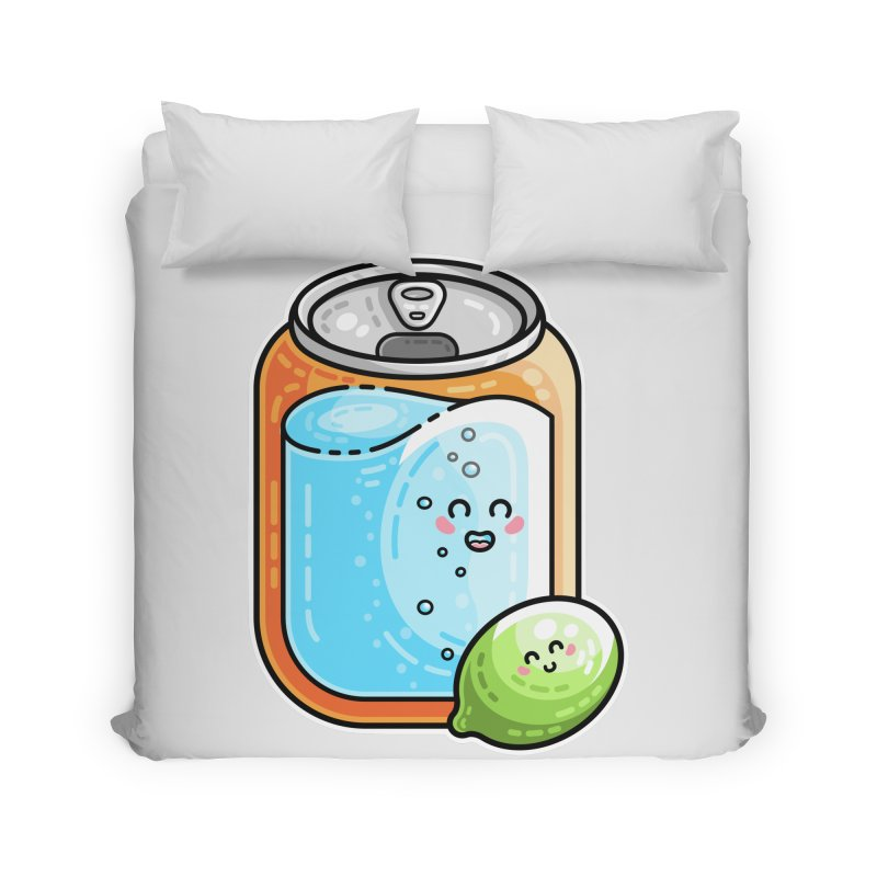 Kawaii Cute Lime and Soda Can Home Duvet by Flaming Imp's Artist Shop