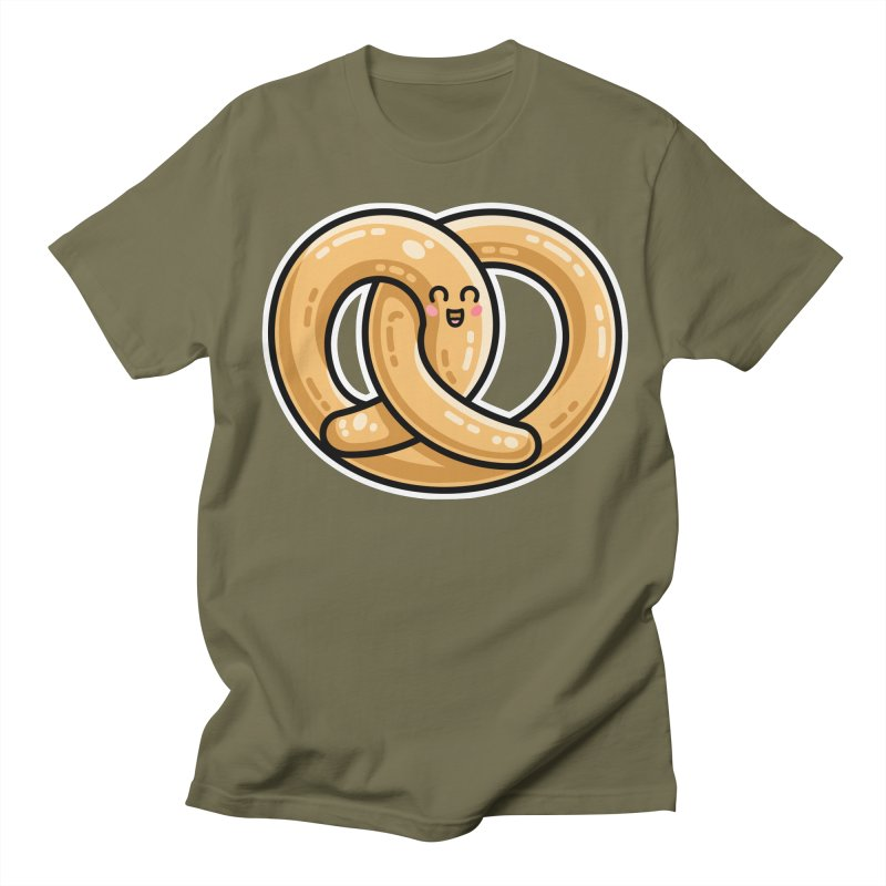 Kawaii Cute Pretzel Snack Food Men's Regular T-Shirt by Flaming Imp's Artist Shop