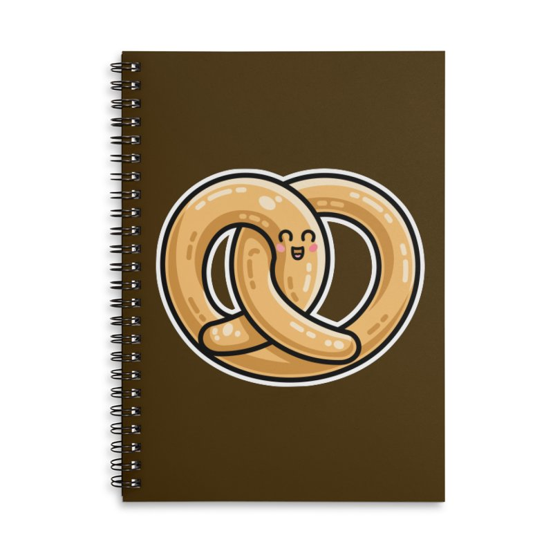 Kawaii Cute Pretzel Snack Food Accessories Lined Spiral Notebook by Flaming Imp's Artist Shop