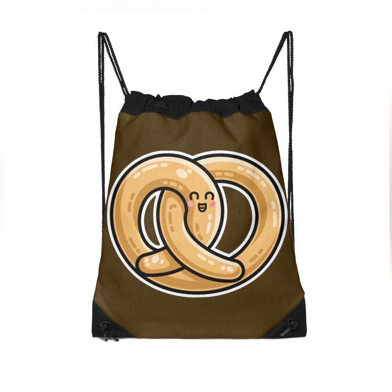 Kawaii Cute Pretzel Snack Food Accessories Drawstring Bag Bag by Flaming Imp's Artist Shop