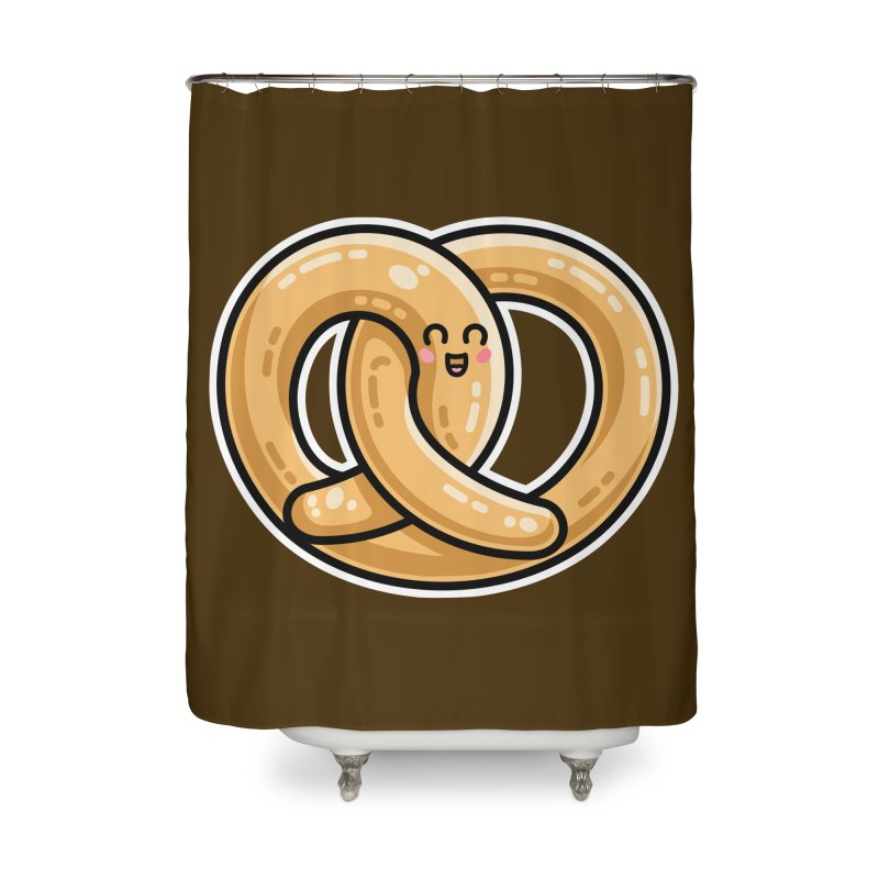 Kawaii Cute Pretzel Snack Food Home Shower Curtain by Flaming Imp's Artist Shop