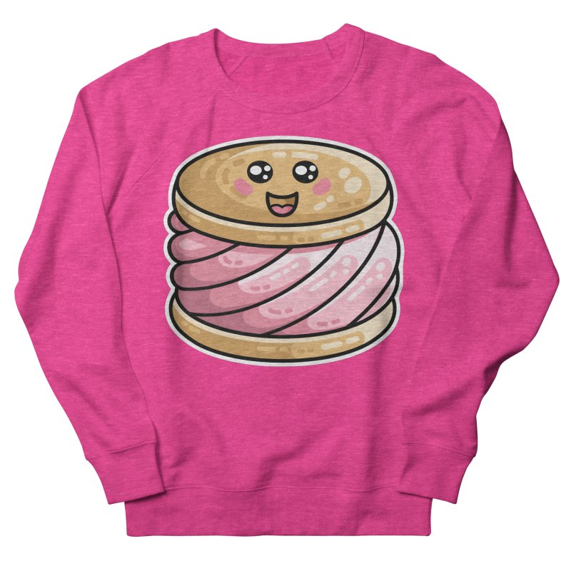 Kawaii Cute Ice Cream Sandwich Women's French Terry Sweatshirt by Flaming Imp's Artist Shop