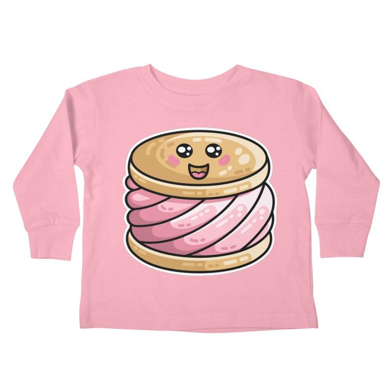 Kawaii Cute Ice Cream Sandwich Kids Toddler Longsleeve T-Shirt by Flaming Imp's Artist Shop