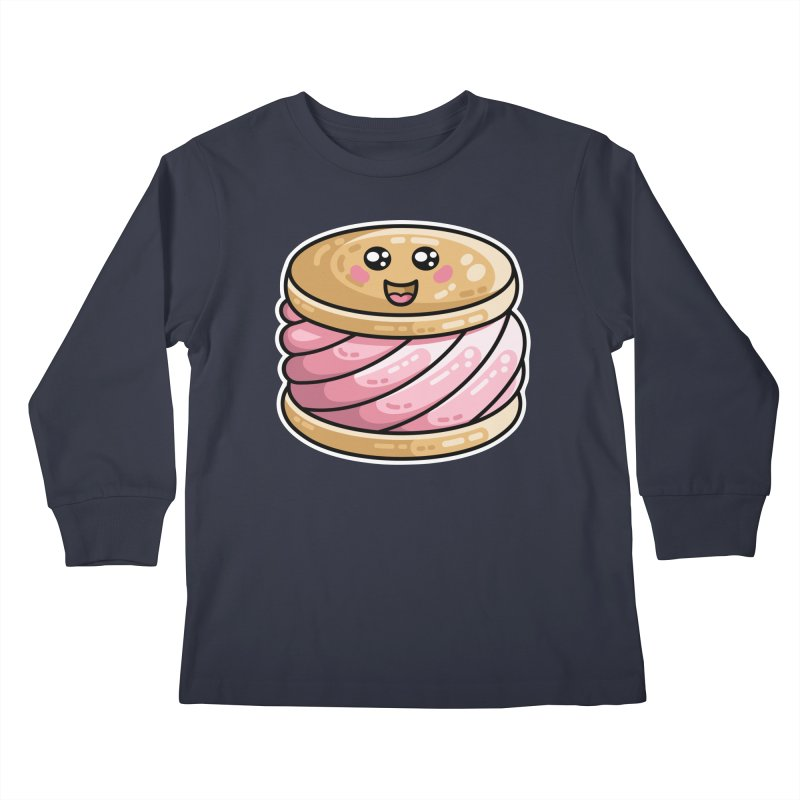 Kawaii Cute Ice Cream Sandwich Kids Longsleeve T-Shirt by Flaming Imp's Artist Shop