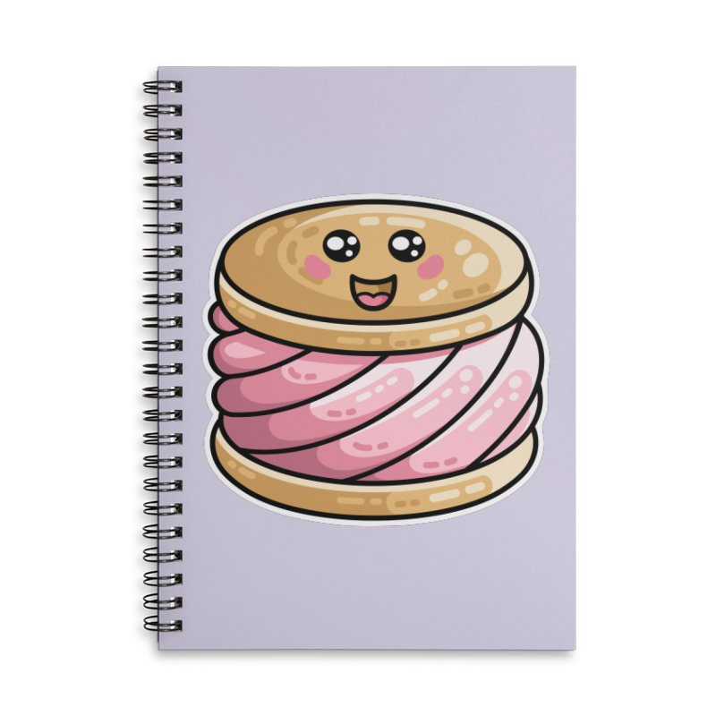 Kawaii Cute Ice Cream Sandwich Accessories Lined Spiral Notebook by Flaming Imp's Artist Shop