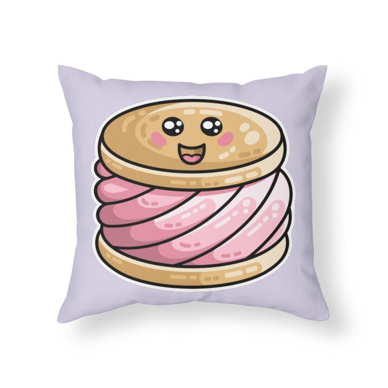 Kawaii Cute Ice Cream Sandwich Home Throw Pillow by Flaming Imp's Artist Shop