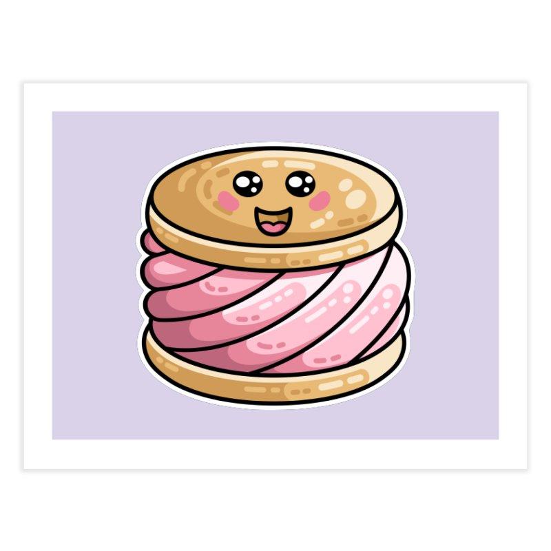 Kawaii Cute Ice Cream Sandwich Home Fine Art Print by Flaming Imp's Artist Shop