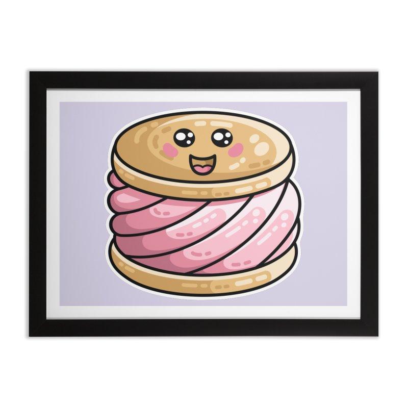 Kawaii Cute Ice Cream Sandwich Home Framed Fine Art Print by Flaming Imp's Artist Shop
