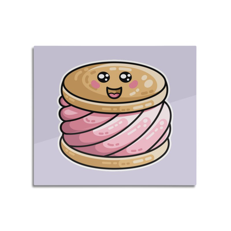 Kawaii Cute Ice Cream Sandwich Home Mounted Aluminum Print by Flaming Imp's Artist Shop
