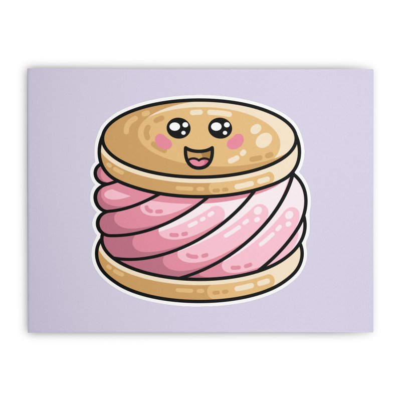 Kawaii Cute Ice Cream Sandwich Home Stretched Canvas by Flaming Imp's Artist Shop