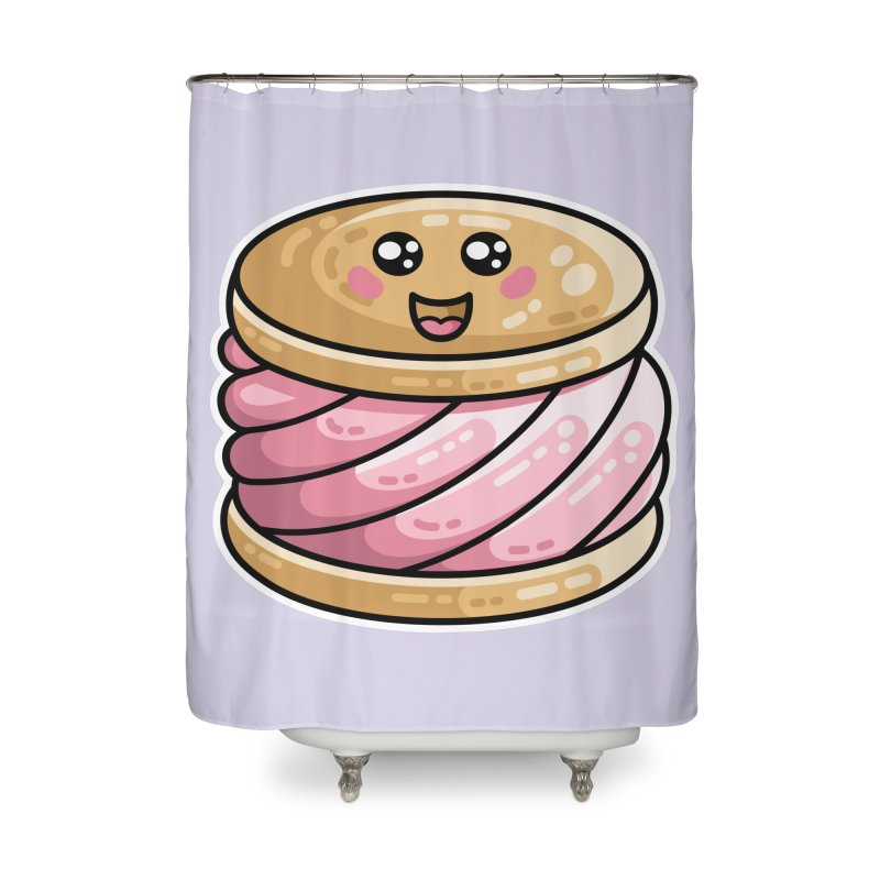 Kawaii Cute Ice Cream Sandwich Home Shower Curtain by Flaming Imp's Artist Shop