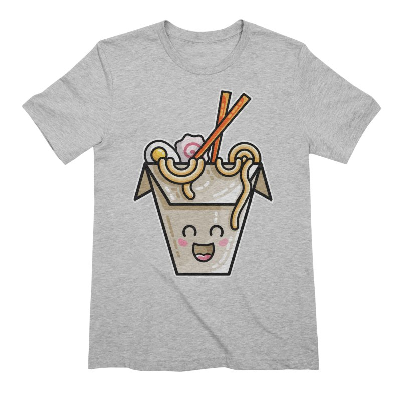 Kawaii Cute Ramen Noodles Takeaway Box Men's Extra Soft T-Shirt by Flaming Imp's Artist Shop